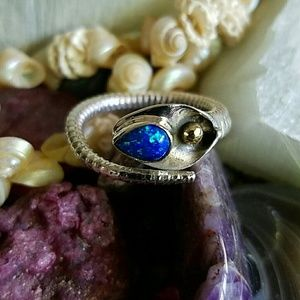 Opal Wrap Ring Sterling Silver NEW